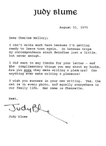 Personal letter from Judy Blume