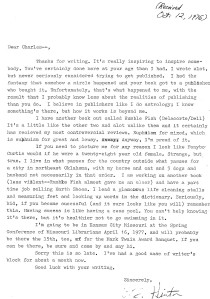 Personal letter from S.E. Hinton