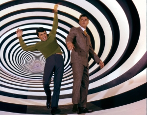 Two people falling into a time travel vortex